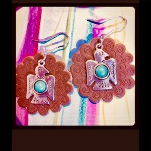 TURQUOISE & SILVER BIRD EARRINGS ON LEATHER